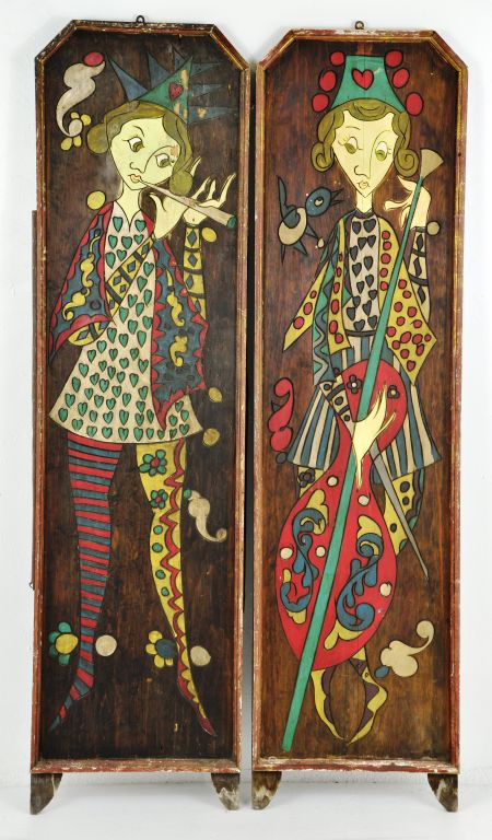 Pair of Majestic Folk Art Carved & Painted Figural Musician Wall Plaques