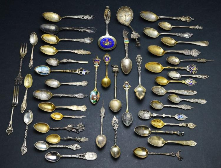 Vintage Collection of Sterling and .800 Silver Collector Spoons, 14.14 Troy Ounces