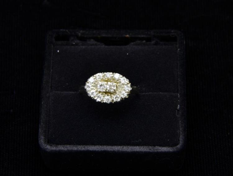 Estate 14KT White Gold Diamond Cluster Oval Shaped Cocktail Ring