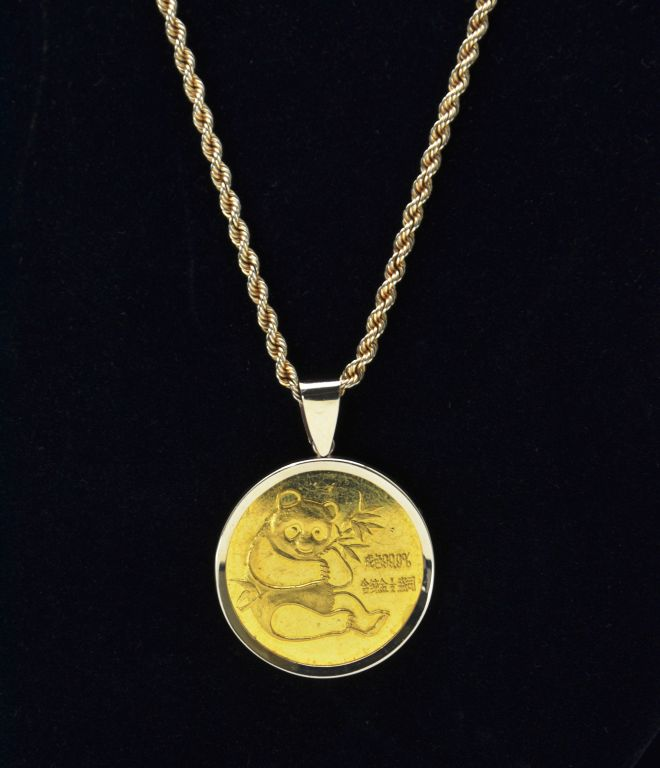 Fine 1982 China Gold Panda Half Ounce 99.9% Gold Coin with 14KT Yellow Gold Rope Chain