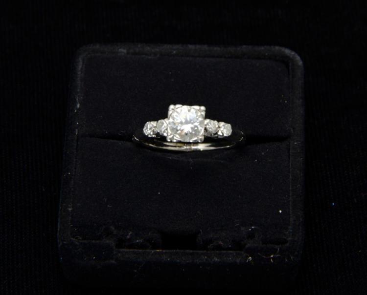 Estate 14KT White Gold 1.25 Carat Brilliant Cut Diamond Engagement or Occasion Ring
