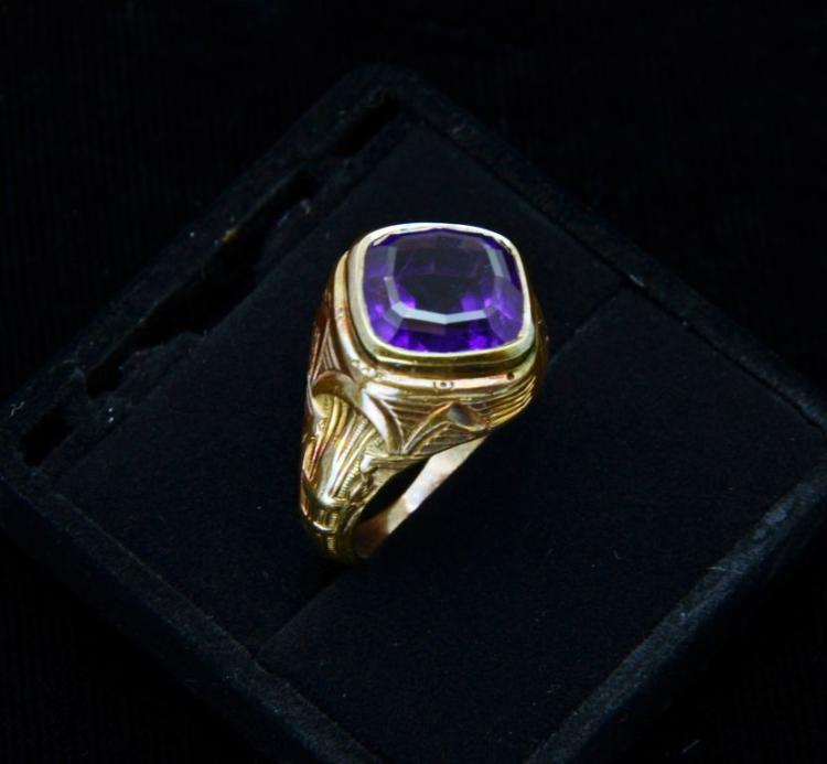 Vintage Estate 14KT Art Deco Rose Gold and Cushion Cut Amethyst Ring
