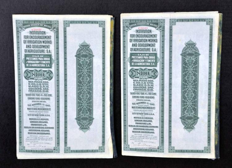Rare Pair of US $100 Mexican Pesos Gold Bonds, C. 1908