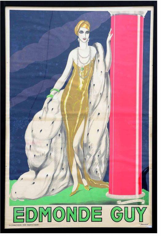 """Large French Original Art Nouveau Edmonde Guy """"Succes"""" Paris 1928 Poster"""