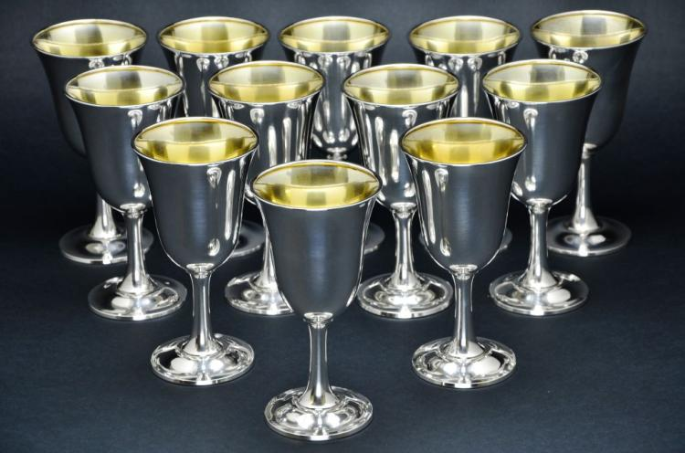 Set of 12 Wallace Sterling Silver Goblets, 57 Troy Ounces