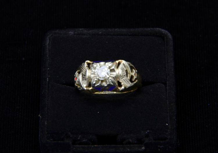 Estate 10KT Yellow Gold Masonic .5 Carat Diamond Ring