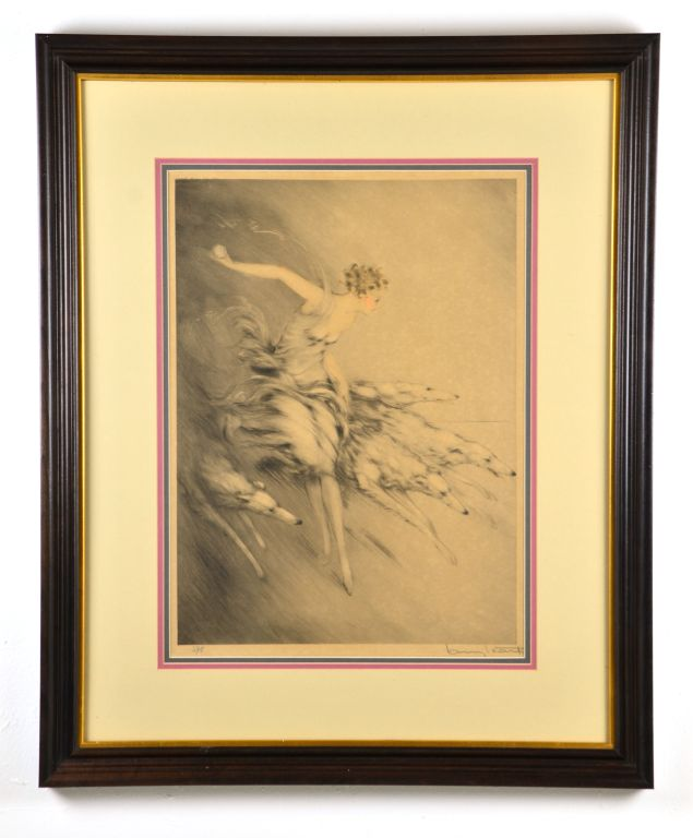 "Original 1928 Copyright Litho ""ZEST"" Pencil Signed by Renowned Listed Artist Louis Icart"