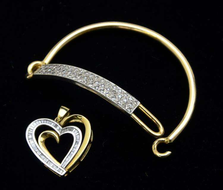 14KT Yellow/White Gold and Diamond Bangle & 10KT Gold Heart Pendant, 22.7 Grams
