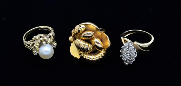 Collection of Vintage 14KT & 18KT Gold Cocktail Rings, Diamonds, Pearls, Serpentine, 23.3 Grams