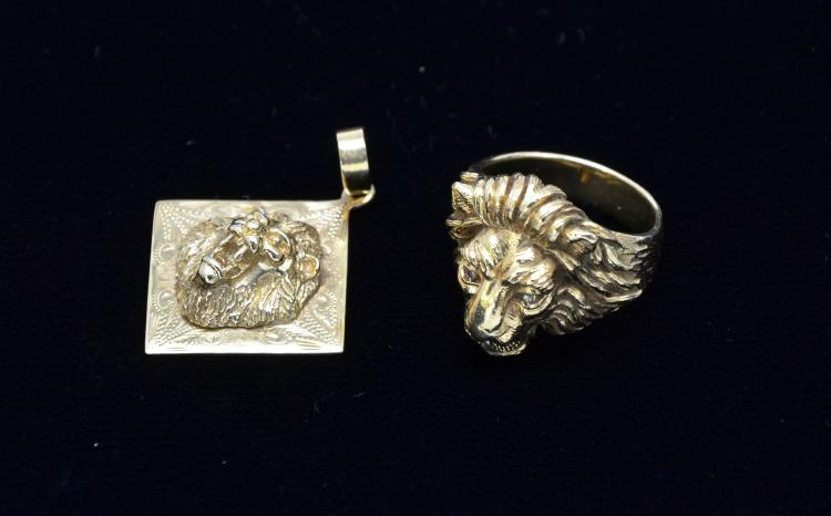 Vintage14K Yellow Gold Lion Figural Ring and Pendant, 28 Grams