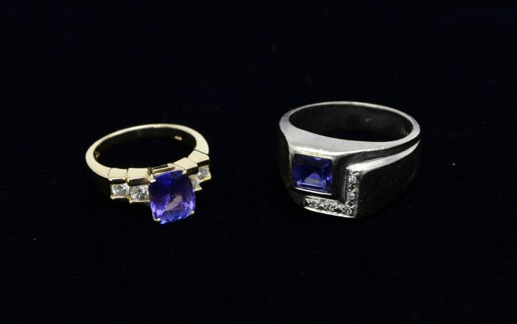 Pair of 14KT White and Yellow Gold Tanzanite Rings, 13.7 Grams