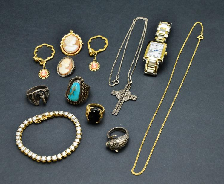 Collection of Costume Jewelry, Gold, Sterling, Turquoise, Bulova, & More