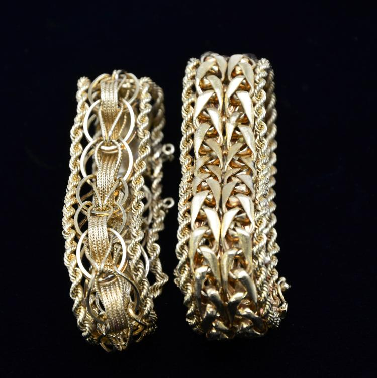 Vintage Pair of Wide Band Solid 14KT Gold Bracelets, 100.1 grams