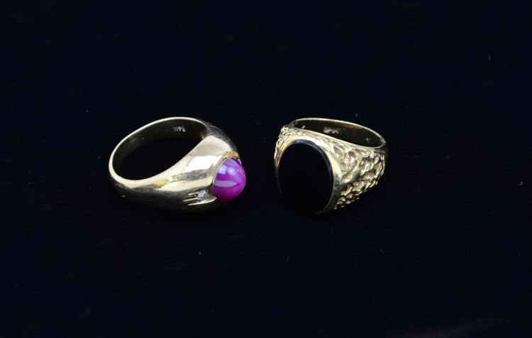 14KT Gold Black Onyx Ring and A Purple/Pink Star Sapphire Diamond 14K Gold Ring, 18.6 Grams