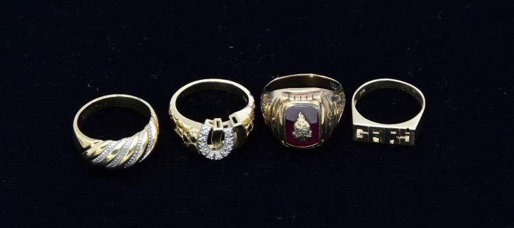 Vintage Collection of 10KT & 14KT Gold Rings and 10KT Gold Filled Costume Ring, 21.2 Grams