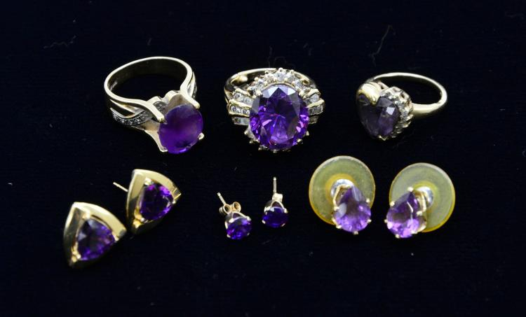 Collection of 14KT Yellow Gold Diamond Amethyst Rings and Earrings, 23.8 Grams
