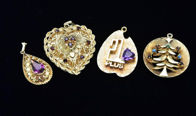 Vintage Collection of 14KT Gold Pendants with Amethyst, and Colored Stones, 34.1 Grams