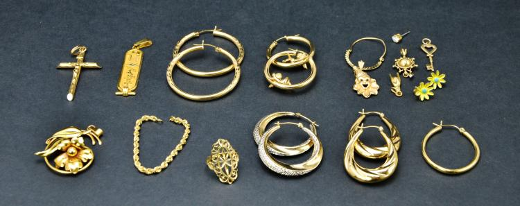 Collection of 10KT 14KT 18KT Gold Scrap or Repurpose Jewelry, 38.9 Grams