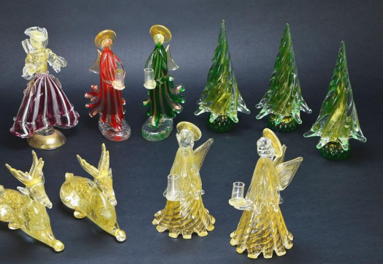 Collection of Murano Art Glass Holiday Figural and Decorative Pieces