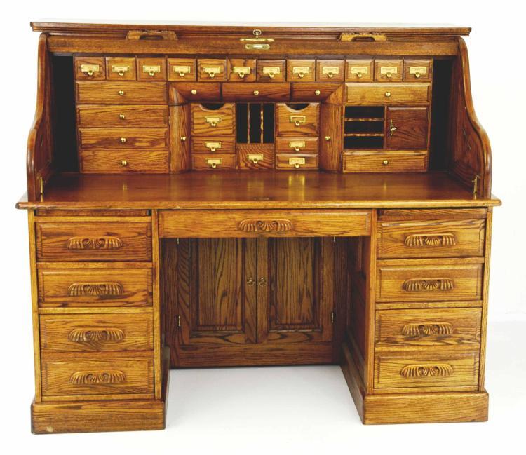 Vintage Large Solid Oak Roll Top Desk By Winners Only Inc