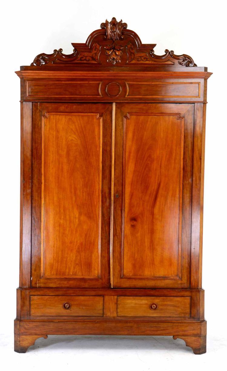 Antique Victorian Rococo Walnut Armoire w/ Carvings