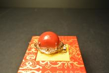 A 18k Yellow Gold, and Red Coral  Pendant-total weighing 10g.