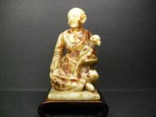A Finely and Rare Antiques Shou-Shan Fu-Rong Stone Carved a Maiden and  Pigeon Decoration: