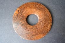 A FINELY AND RARE CHINA JADE BI DISC--D: 8.1cm.