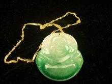A Valuable and Finely Chinese Green Jadeite Carved two-sided Buddha Pendant