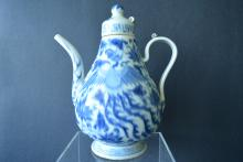 A Finely And Rare 14th C. Chinese Blue And White Porcelain Ewer With Cover