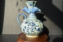 A Chinese Yuan Dynasty Vintage Blue And White  Phoenix head Porcelain Pot  Painted With Passionflower