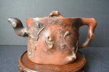 A Qing Dynesty Chinese Exquisite Plum Sculpture zisha teapot