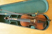 A Finely And Beautiful Old Violin With A Silver-Mounted Violin Bow