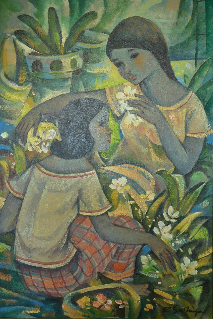 Philippines artist roger san miguel painting two ladies pic Paintings that are worth a lot of money