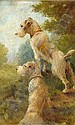 [ Sporting ] FLORENCE JAY (FL 1905 - 1920) Two fox terriers on a bank Board Signed 9 x 5in. (23 x 12.5 cms) (See Illustration)
