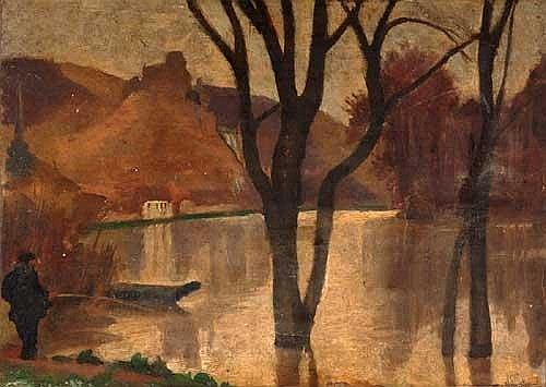 ATTRIBUTED TO ROBERT POLHILL BEVAN (1865 - 1925) Figure in a river landscape Board Remains of N.E.A.C. label verso 10 in x 14 in (25.5 x 35.5 cms)