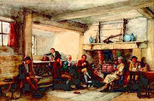 [ watercolour ] LOUIS ABSOLON (fl 1872 - 1889) TAVERN SCENE, A FIRESIDE GATHERING Signed and dated 1872 11.5in x 19.5in (29 x 49. 5cms)