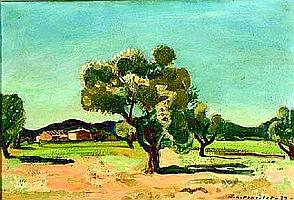 [ Oil painting ] MAURICE GEORGES PONCELET (1897 - 1978) OLIVE TREES Oil on Canvas Signed and dated '37 lower right 14.5in x 21.25in (37 x 54cms)
