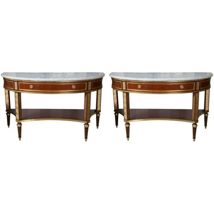 Pair of Marble-Top Demi Lune Console Table by Jansen