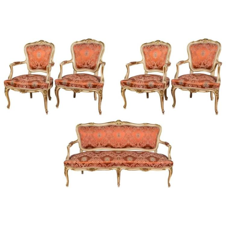 Louis XV Paint Decorated Sofa with Four Matching Chairs