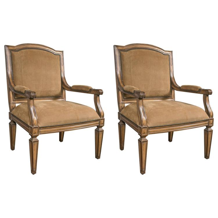 Pair of Louis XVI Style Armchairs with Suede Upholstery