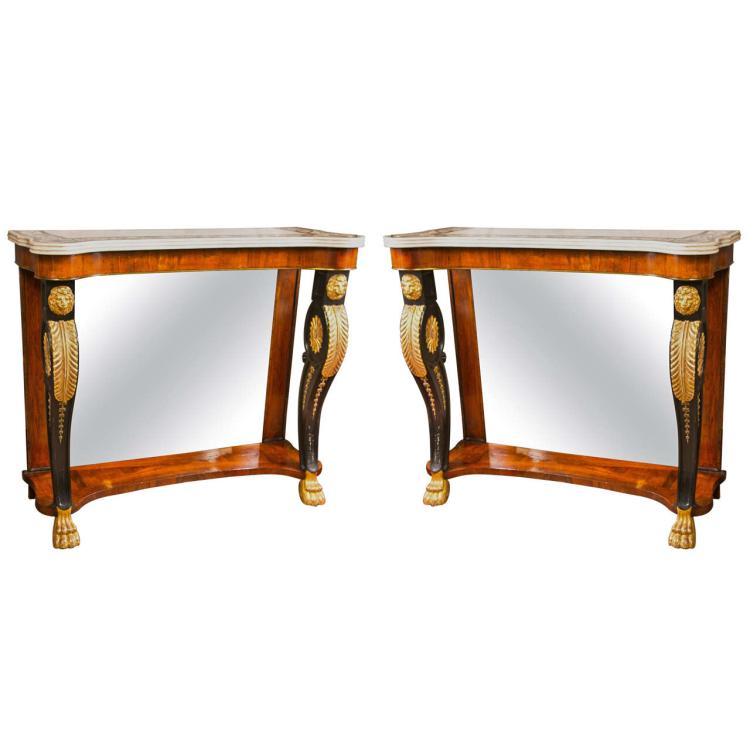 Pair Of Scagliola Inlaid Marble Top Consoles Possibly By Pietto Bossi