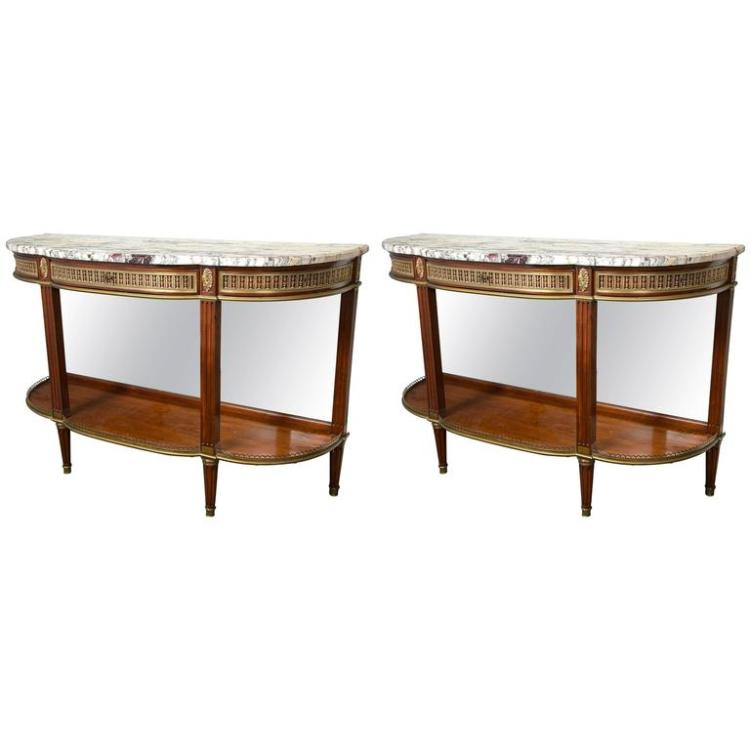 Pair of Demilune Bronze-Mounted Console Tables by Jansen