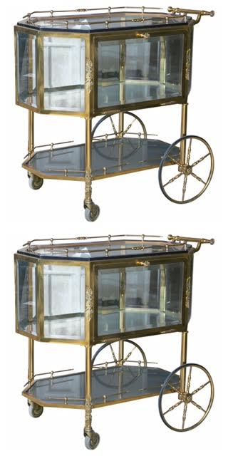 Pair of Bronze and Glass Vitrine Serving Tea Wagon