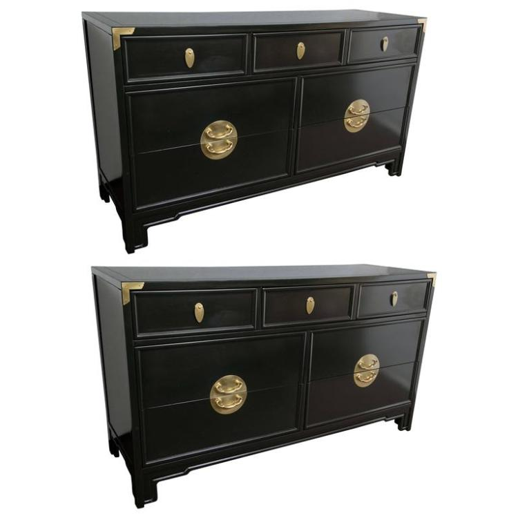 Pair of Kent Coffey Ebonized Chests Commodes