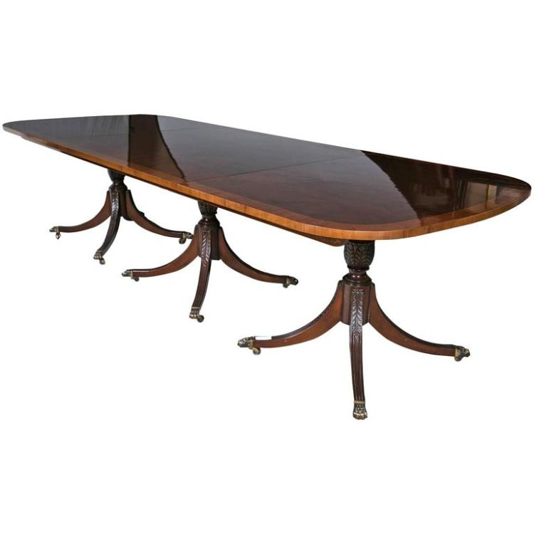 Georgian Style Crotch Mahogany & Satinwood Banded Triple Pedestal Dining Table
