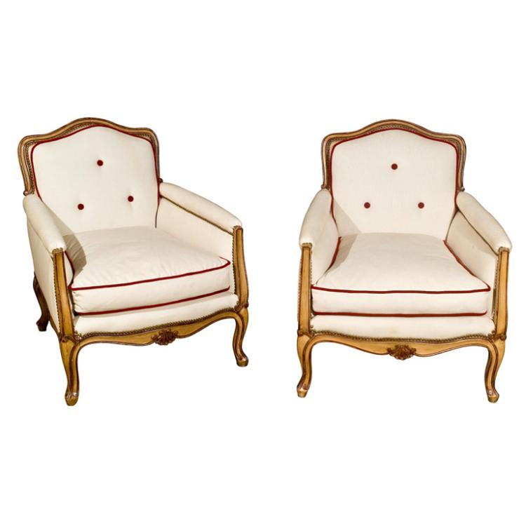 Pair Of Jansen Stamped Bergere Chairs