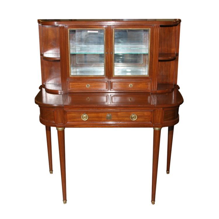 Jansen Mahogany Desk and Curio Cabinet