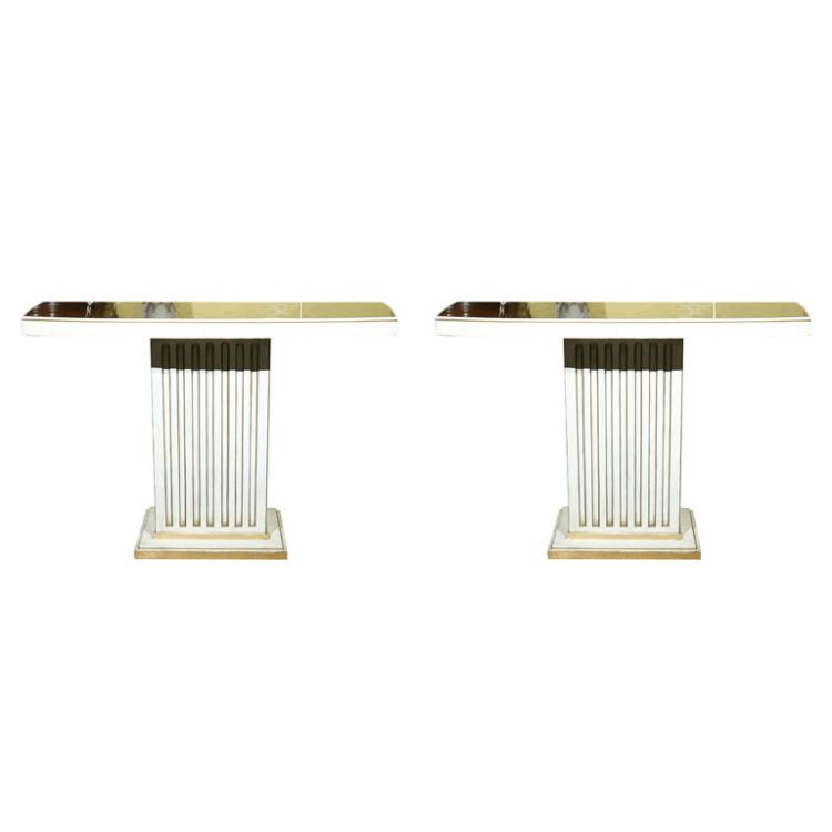 Pair of Maison Jansen Painted & Eglomise Console Tables