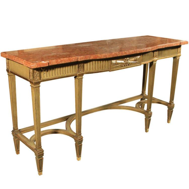 Maison Jansen Console with Six Raised Legs and Marble Top